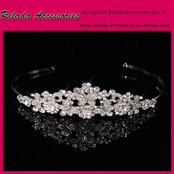 Factory Wholesale elegant bling bling butterfly metal Rhinestone headpieces tiaras