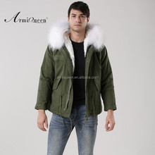 Luxury Italy top brand style mens jacket for wholesale with fur military mens fur jacket white fully collar short fashion coat