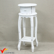 Round Wooden Antique Decorative Stools With One Drawer