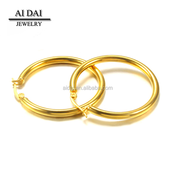 Plated gold Hollow Stainless steel Hoop Women's Earrings ES-003G