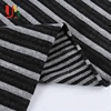 Yarn dyed Spandex French terry melange knitted black white stripe fleece fabric for sweater