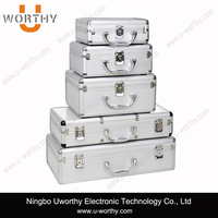 silver aluminum luggage box with high quality dotted surface metal frame alu case