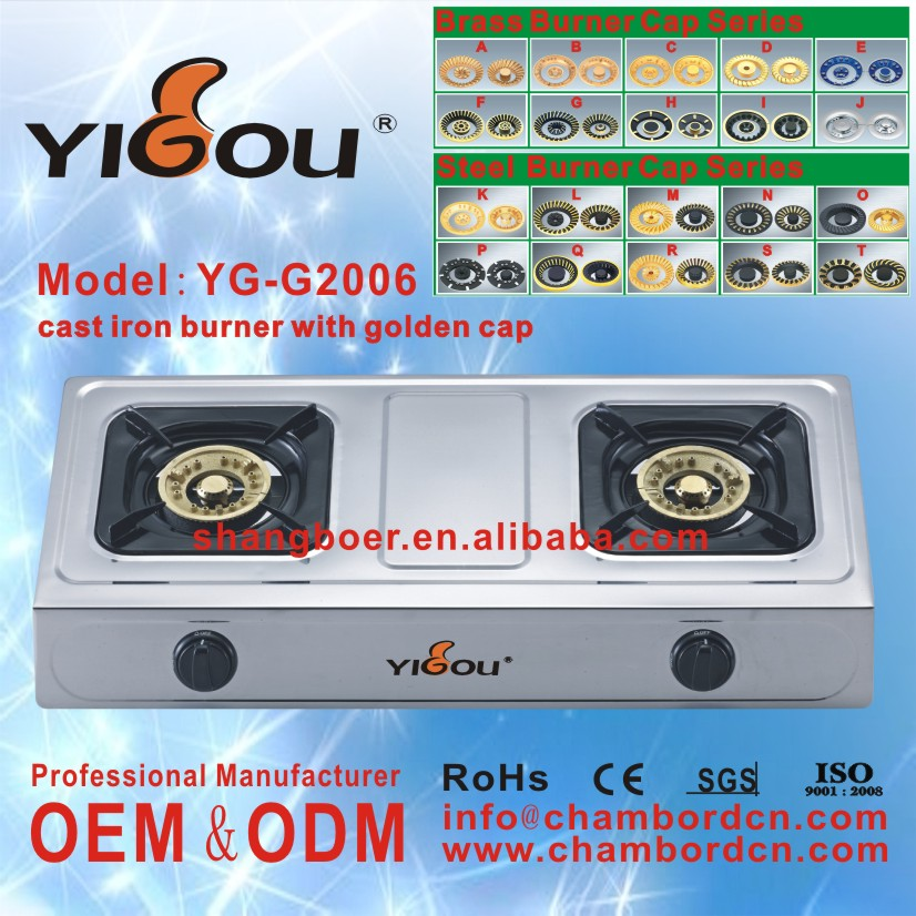 YG-G2006 2016 Hot New Products Two Burner Blue Flame Gas Stove