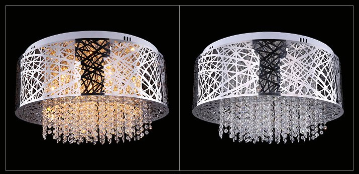 Round modern stainless steel crystal ceiling lamp