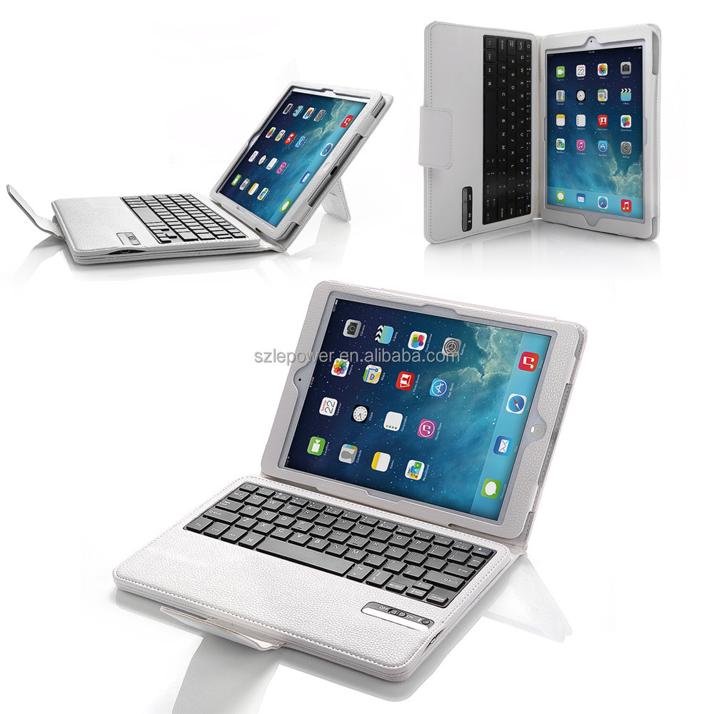 Smart Leather Cases bluetooth 3.0 detachable bluetooth keyboard for iPad Air