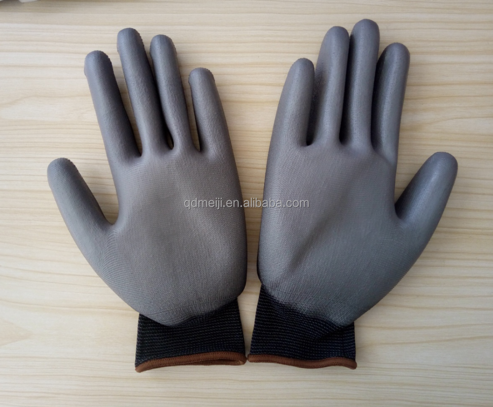 Anti static electricity pu coated breathable working hand job glove CE certificated nylon pu palm coated gloves