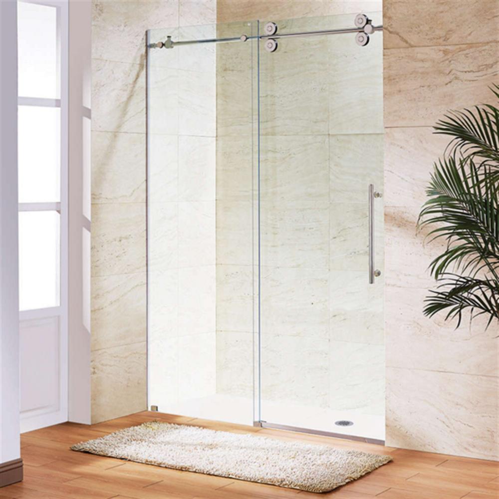 Bathroom 48 inch 1200 mm frameless big double hanging for Hanging sliding glass doors