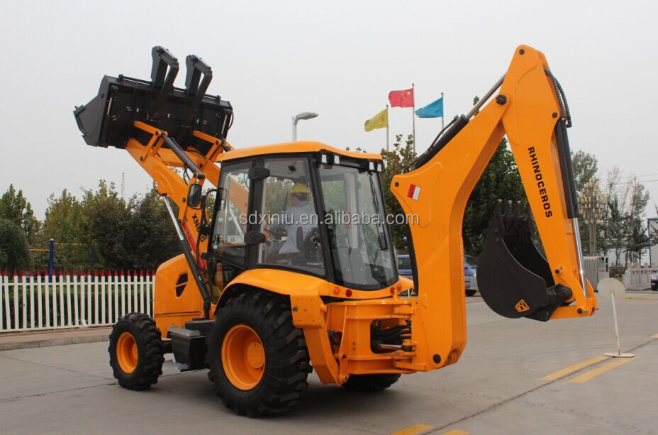 4 Wheel Drive Big Backhoe Loader with 6 in 1 Bucket