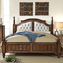 2017 hot sale American rustic antique wooden king size double bed