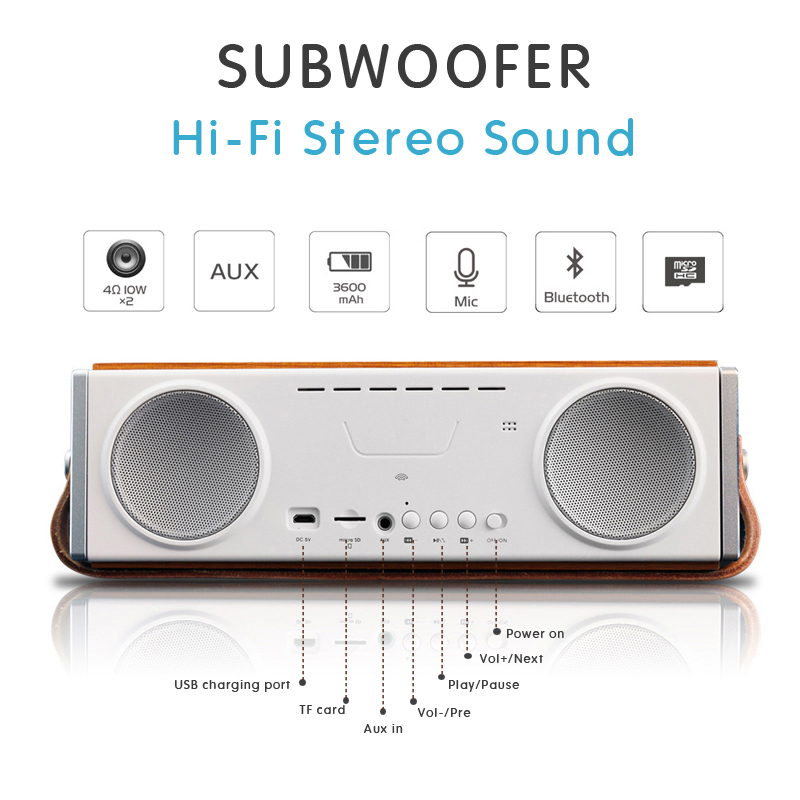 20W Bluetooth Speakers with Super Bass, Bamboo Wood Home Speaker with Subwoofer