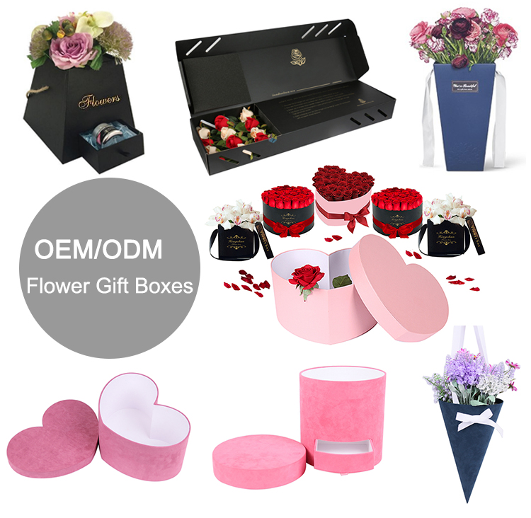 Custom Unique Velvet Roses Bouquet Box Packaging Luxury, Wholesale Cardboard Cylinder Round Hat Suede Flower Gift Box With Lid
