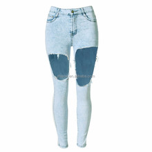 Fashion high quality women denim trousers pants wholesale sexy lady jeans ripped