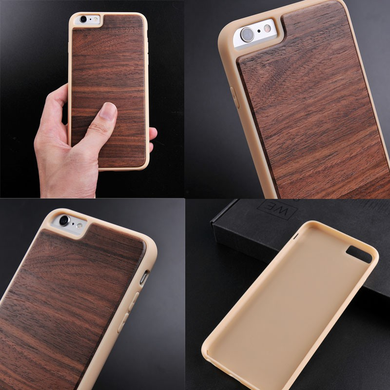 Unique design tpu case with wooden installed for iphone 6