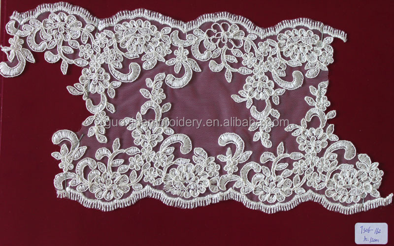 2015 Hot Selling rayon embroidery edging bone cord lace/ lace trim for wedding dress