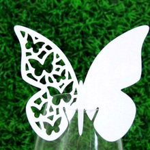 BK31 Party Table Name Cards Party Decoration Laser Cut Butterfly Design for Weddings Wine Glasses