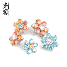 ASTM F136 Titanium Prong Set Flower Dermal Anchor Top Piercing Jewelry