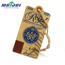 China kraft jeans hang tag, clothing hang tag label with cotton string
