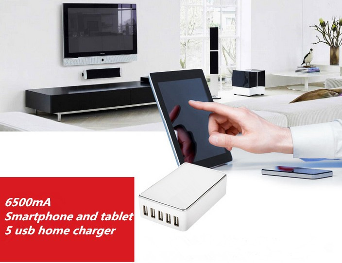 5V 6.5A glossy housing design 5 port usb charger, restaurant cell phone charging station usb travel charger with smart IC