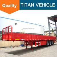 TITAN high quality Tri axle Cargo flatbed sidewall semi trailer for sale