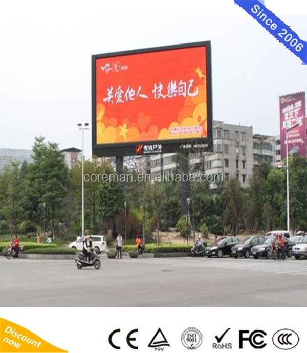 Hot Outdoor P10 Full Color Small Video LED Media P10 P16 waterproof 4x3m 96x96 led module screen tv