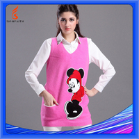 Cartoon Loose Big Size Sleeveless Women Vest Sweater No Sleeves