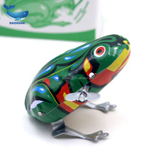 YWWJ0003 HAOXUAN Kids Classic Tin Wind Up Clockwork Toys Jumping Frog Vintage Toy For Children Boys Educational