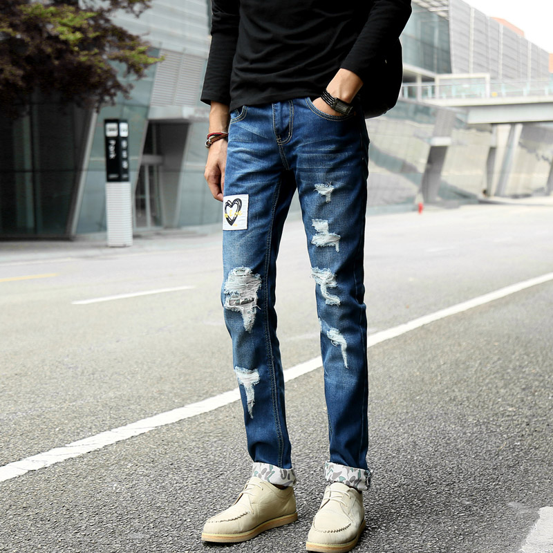 Ripped Holes Jeans for Men with <strong>Beautiful</strong> Pattern Design