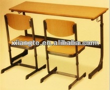 Cheap double school desk and chair / metal frame attached student table and chair