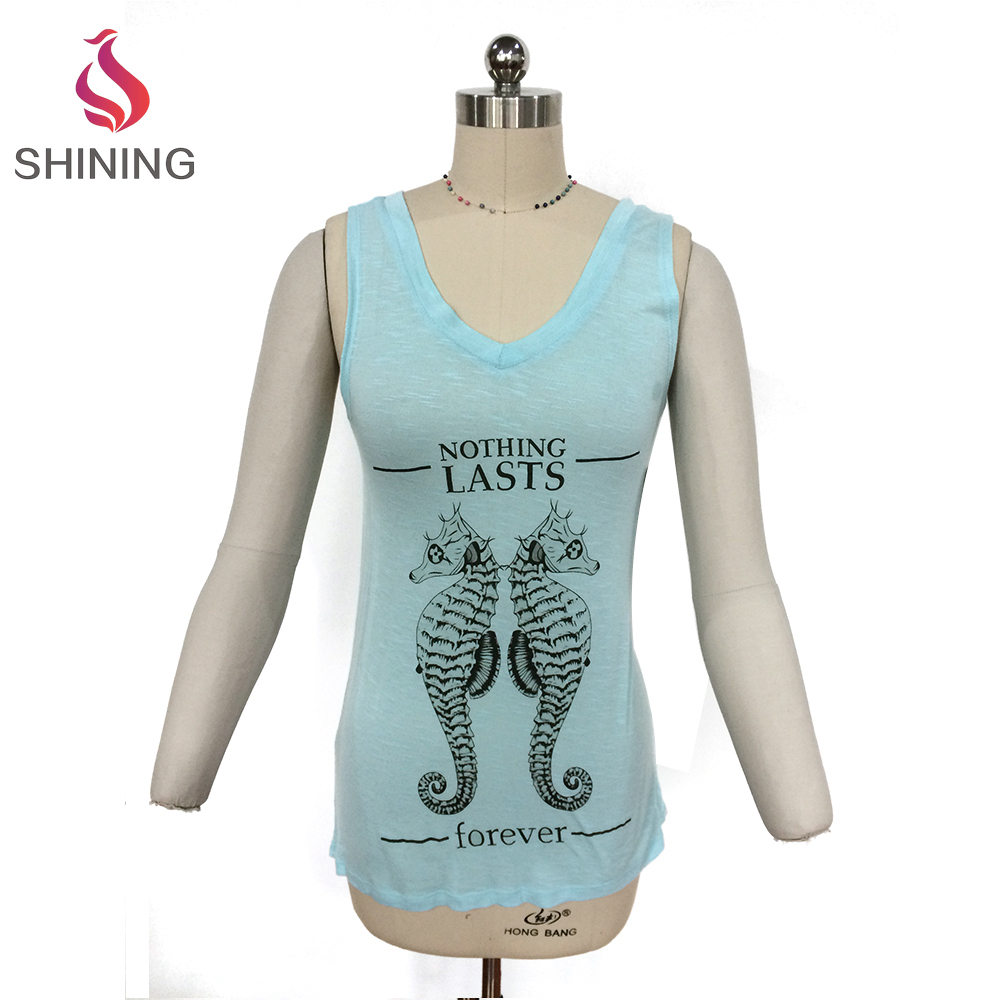 2017 In stock wholesale women clothing sleeveless fitness sportwear custom tank top printing american apparel wholesale sublimat