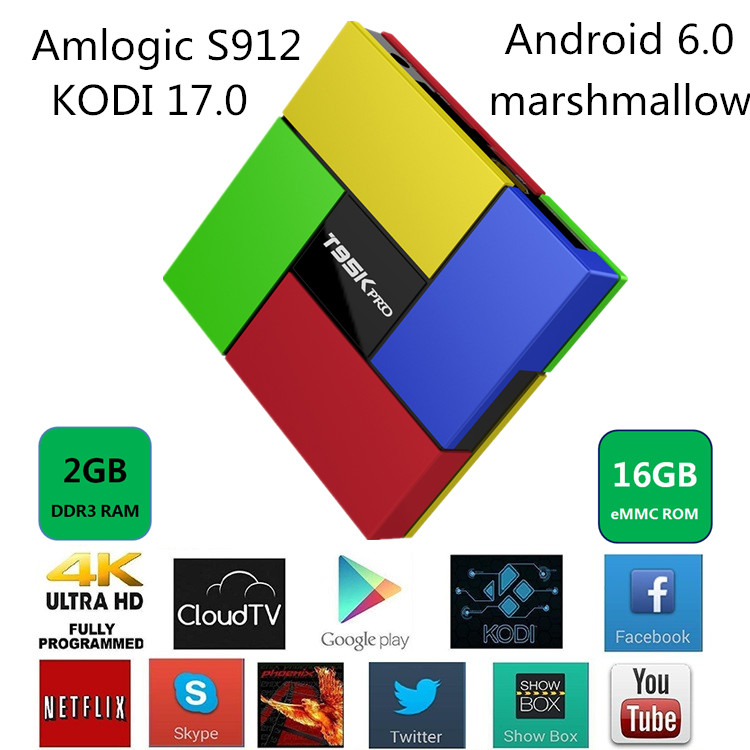 T95K pro Amlogic S912 Android 6.0 Marshmallow 2GB DDR3 DC 5V/2A android smart tv box