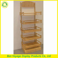 Natural 5 tiers custom free standing wooden bread point of sale display units