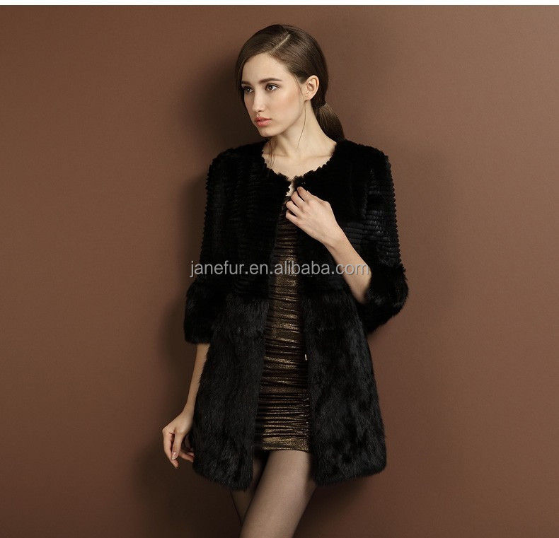 Janefur Lady's Fashion Rabbit Fur Coat /Fashion Style