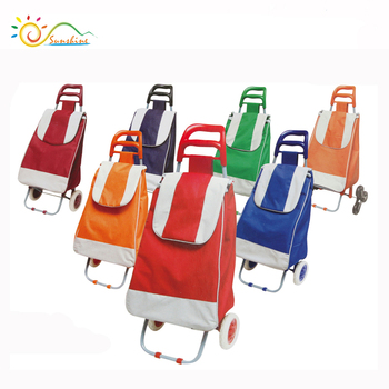 Foldable fashion supermarket rolling shopping trolley cart/polyester light shopping bag