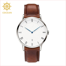 Stainless steel fashion quartz custom dial analog leather band waterproof watch