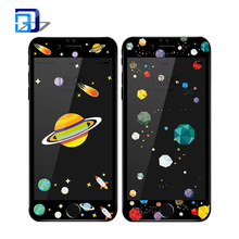 New arrivals sky cartoon printing painted relief 3D curved tempered glass screen protector for iphone 7
