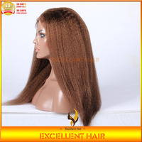 New Fashion Malaysian Virgin Kinky Straight Hand Tied Made Full Lace Wig Dark Brown Human Hair Wig with Baby Hair