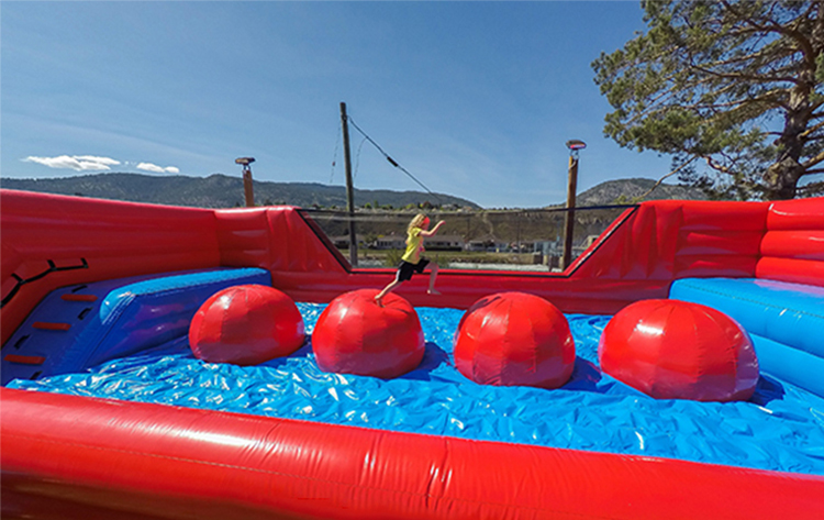 Inflatable Big Baller Wipeout Big Red Balls Inflatable Wipeout Ball Obstacle Course Games For Sale
