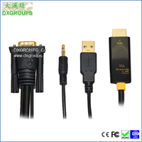 VGA To HDMI Male Converter Adapter Cable with Audio and USB Charging For Laptop Projector HDTV DVD; 180CM VGA Adaptor