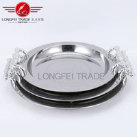 3pcs Wholesale round tray Stainless Steel food serving tray