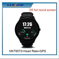 2016 fashion design round D5 MTK6572 3g phone call waterproof fingerprint smart watch android mobile phone compatible