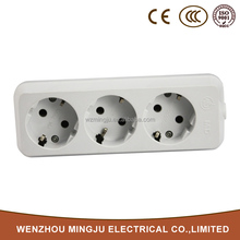 Mingju Latest Technology White 3 Outlet Power 2-Pin Extension Socket