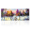 Winter Scenery Canvas Wall Art Forest Sunrise Picture Oil Painting Prints Living Room Wall Decor Large Size Ready to Hang