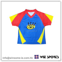 Newest promotional kids 100% polyester moisture wicking sublimation sports jersey