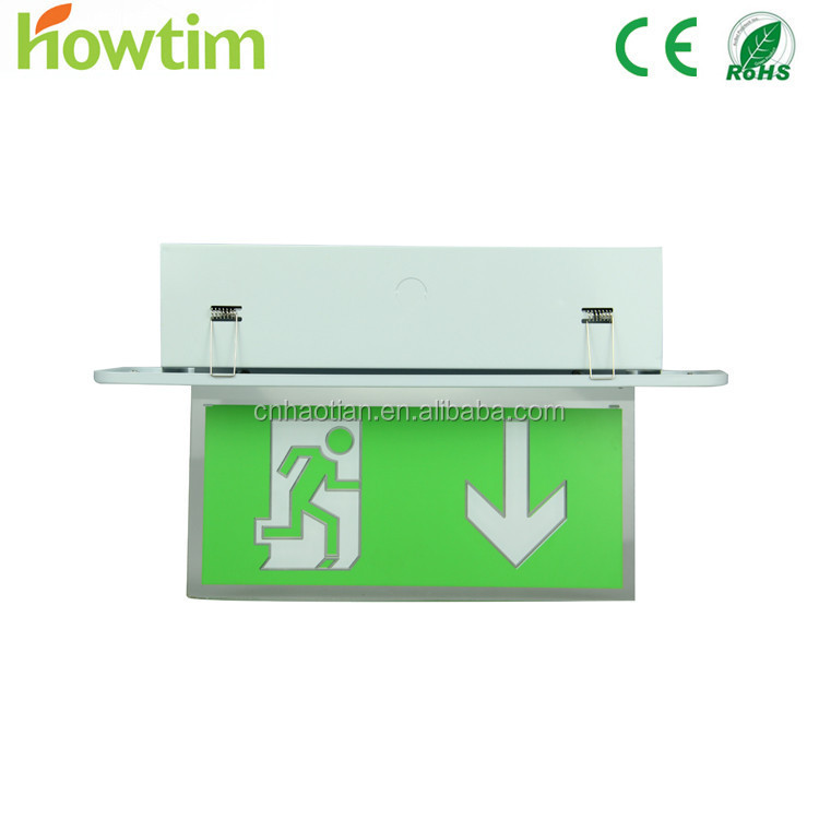 Indoor mall rectangle shape aluminum material wall mounted safety signs symbols emergency exit light Ceiling mounted