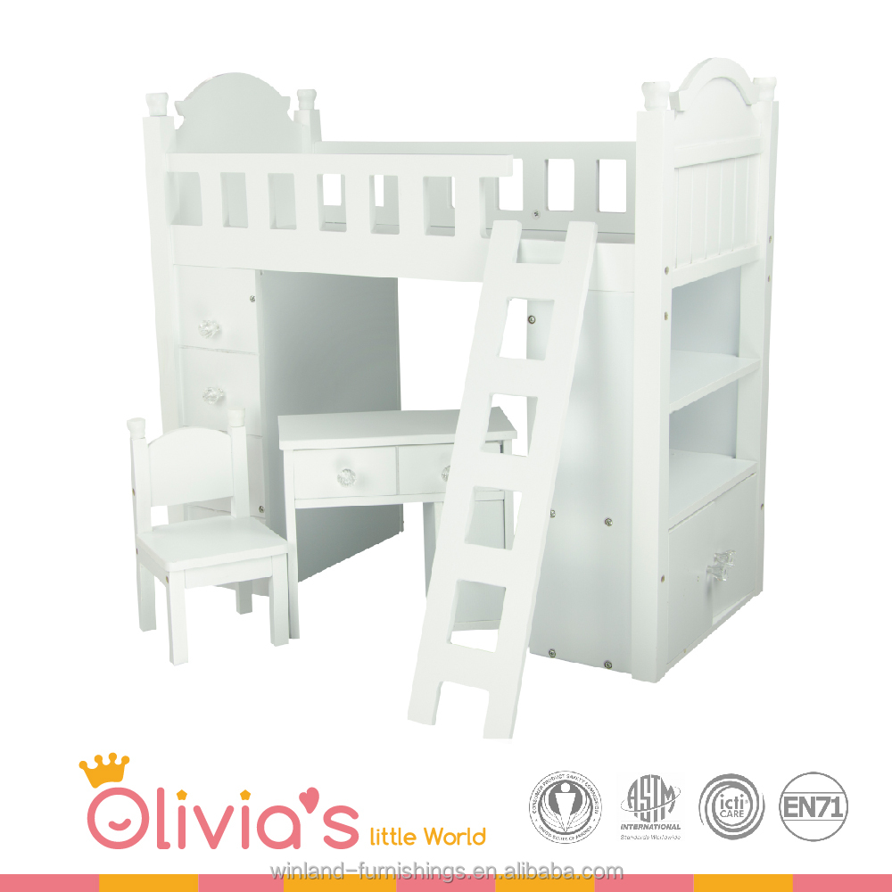 Olivia's Little World - Princess White Bunk Bed | Wooden 18 inch Doll Furniture