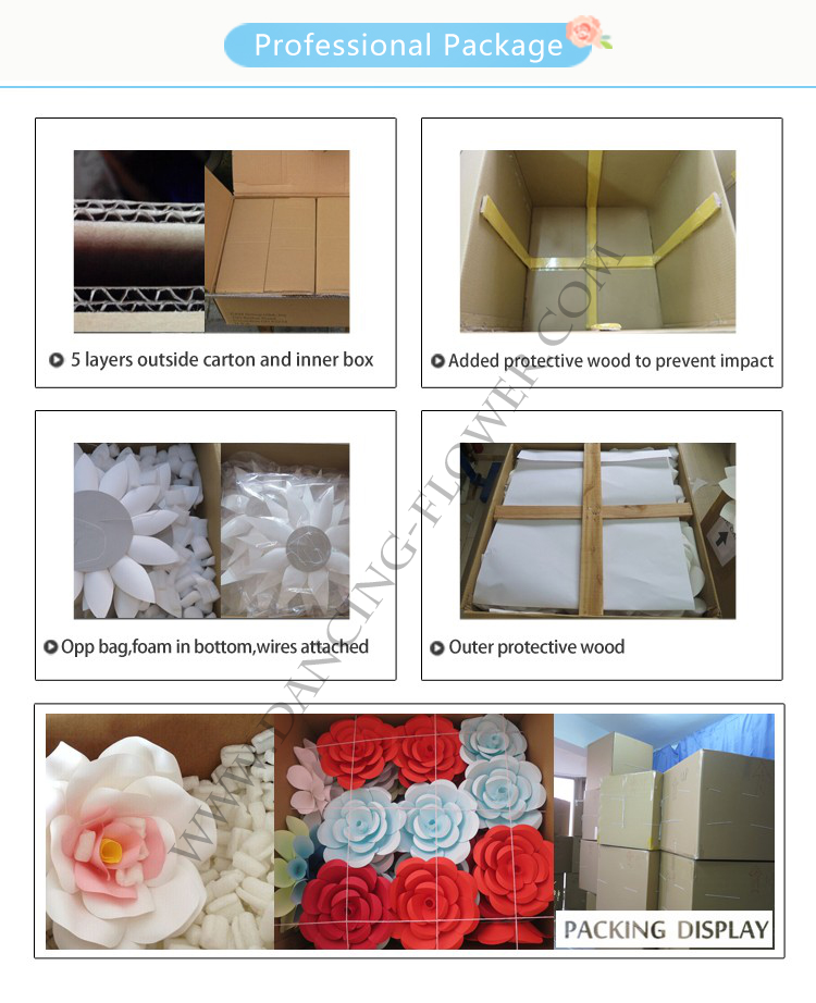 Giant white paper flowers for wedding backdrops wall