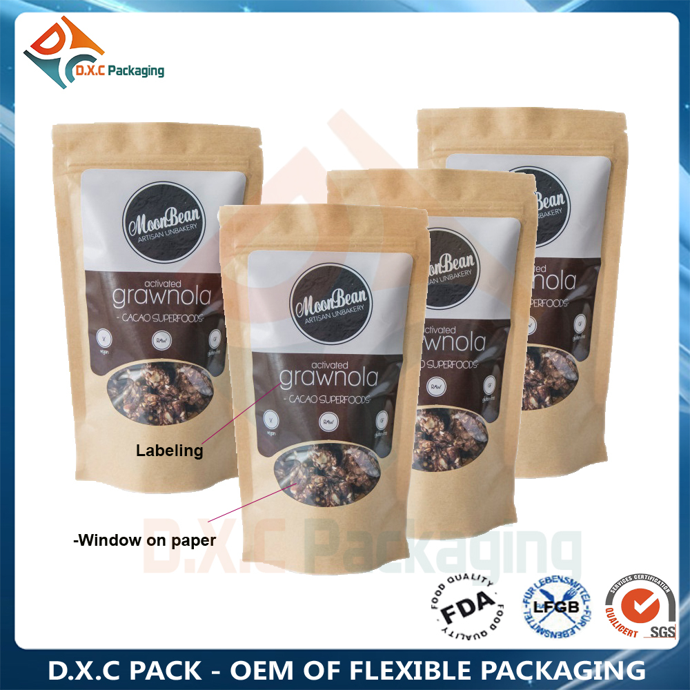 Brown Kraft Paper Food Packaging Bag Pouch With Window