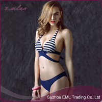 2015 New design wholesale stripes summer beach lady sexy bikini