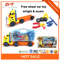 Plastic toy tractor free wheel tractor trailer toy for sale