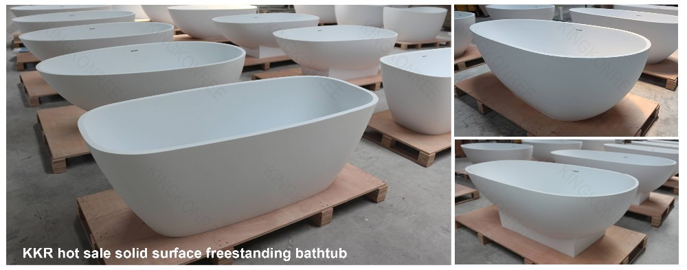 resin stone freestanding black solid surface freestanding bathtub